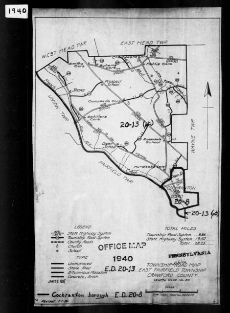 1940 Census Enumeration District Maps - Pennsylvania - Crawford County - East Fairfield - ED 20-13
