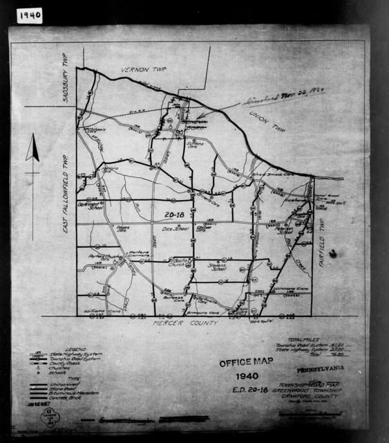 1940 Census Enumeration District Maps - Pennsylvania - Crawford County - Greenwood - ED 20-18