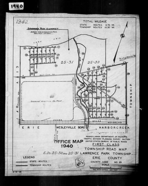 1940 Census Enumeration District Maps - Pennsylvania - Erie County - Lawrence Park - ED 25-31