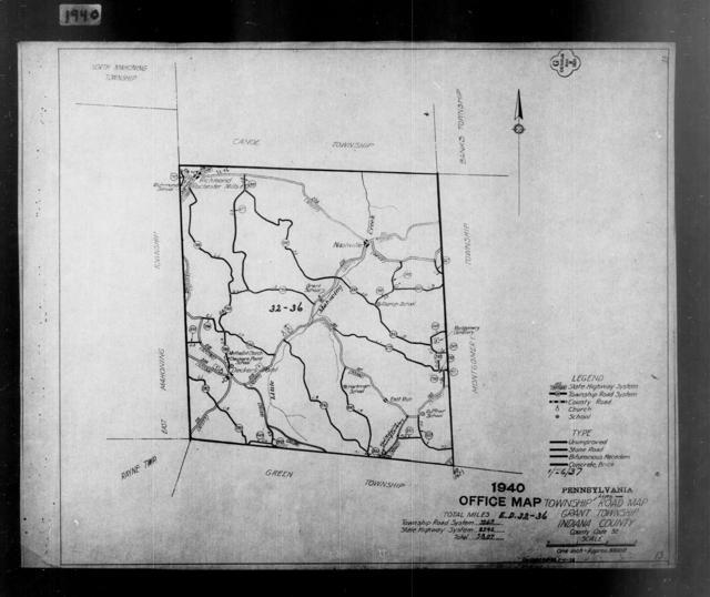 1940 Census Enumeration District Maps - Pennsylvania - Indiana County - Grant - ED 32-36
