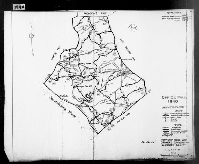 1940 Census Enumeration District Maps - Pennsylvania - Lancaster County - Drumore - ED 36-21