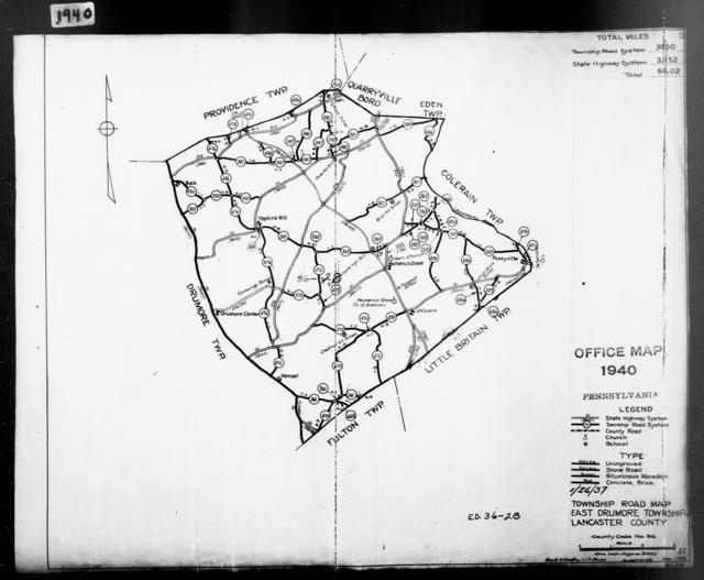 1940 Census Enumeration District Maps - Pennsylvania - Lancaster County - East Drumore - ED 36-28