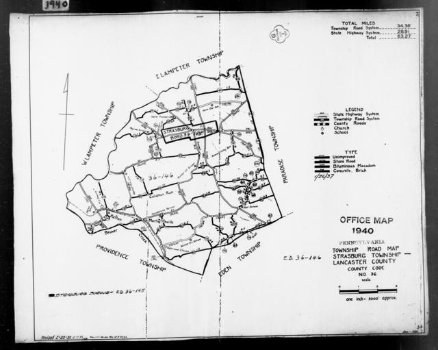 1940 Census Enumeration District Maps - Pennsylvania - Lancaster County - Strasburg - ED 36-145, ED 36-146