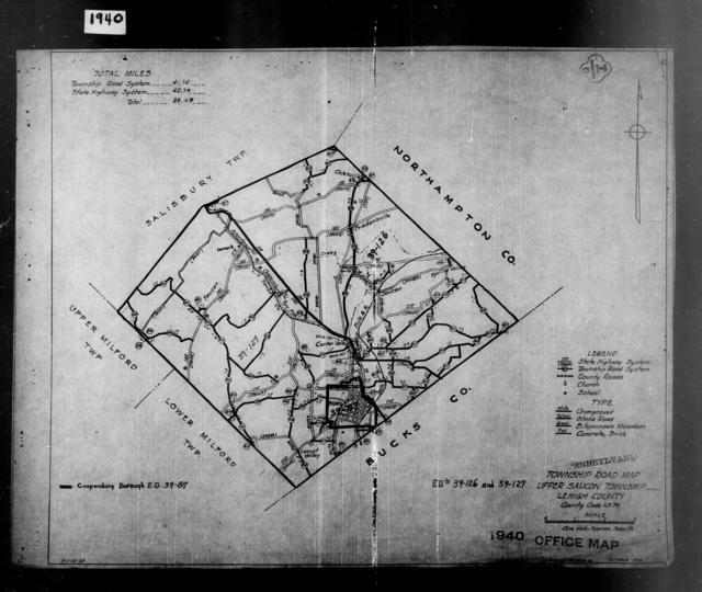 1940 Census Enumeration District Maps - Pennsylvania - Lehigh County - Upper Saucon - ED 39-126, ED 39-127