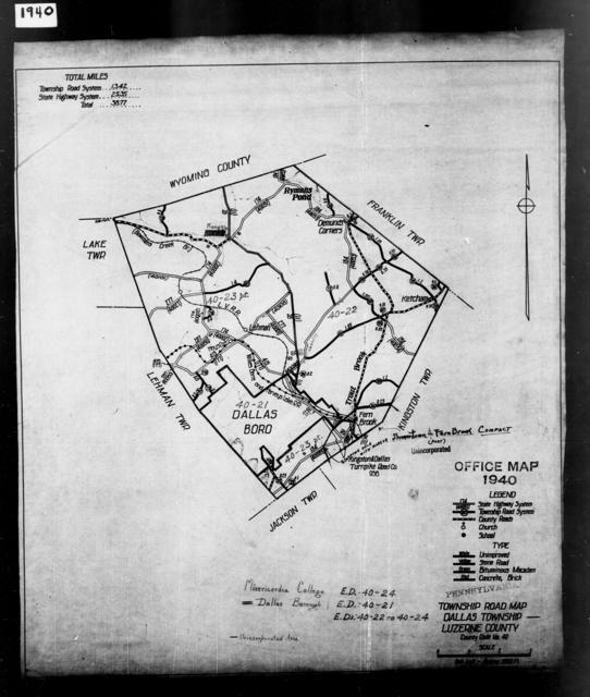 1940 Census Enumeration District Maps - Pennsylvania - Luzerne County - Dallas - ED 40-21, ED 40-22, ED 40-23, ED 40-24