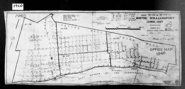 1940 Census Enumeration District Maps - Pennsylvania - Lycoming County - South Williamsport - ED 41-56, ED 41-57, ED 41-58, ED 41-59