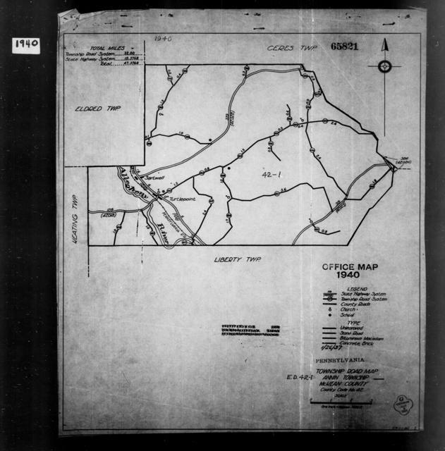 1940 Census Enumeration District Maps - Pennsylvania - McKean County - Annin - ED 42-1