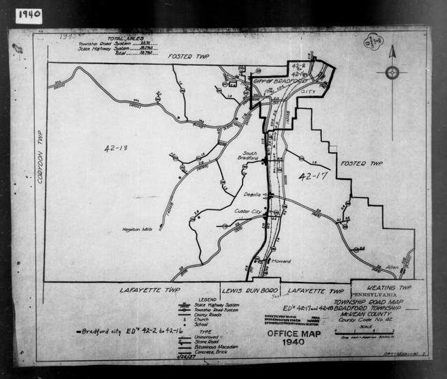 1940 Census Enumeration District Maps - Pennsylvania - McKean County - Bradford - ED 42-2 - ED 42-18