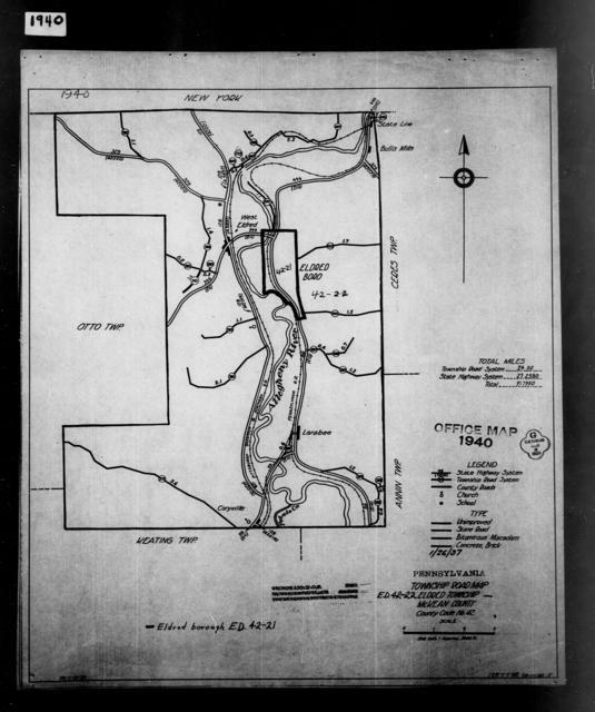 1940 Census Enumeration District Maps - Pennsylvania - McKean County - Eldred - ED 42-21, ED 42-22
