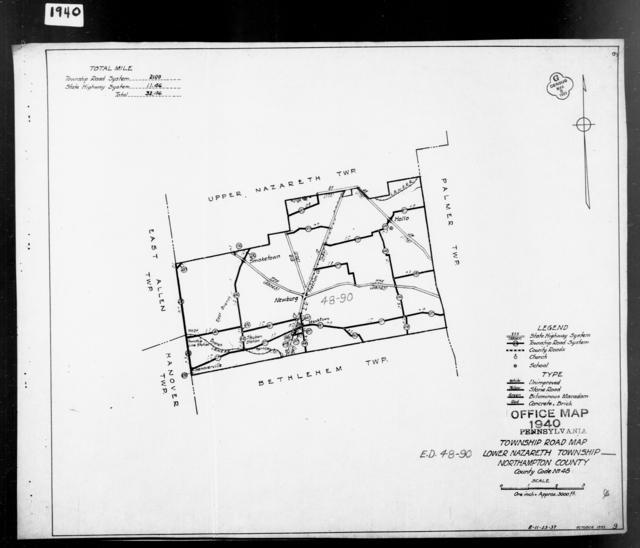 1940 Census Enumeration District Maps - Pennsylvania - Northampton County - Lower Nazareth - ED 48-90