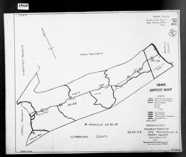 1940 Census Enumeration District Maps - Pennsylvania - Perry County - Rye - ED 50-22