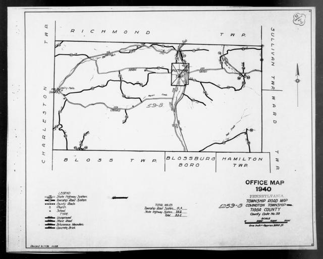 1940 Census Enumeration District Maps - Pennsylvania - Tioga County - Covington - ED 59-8