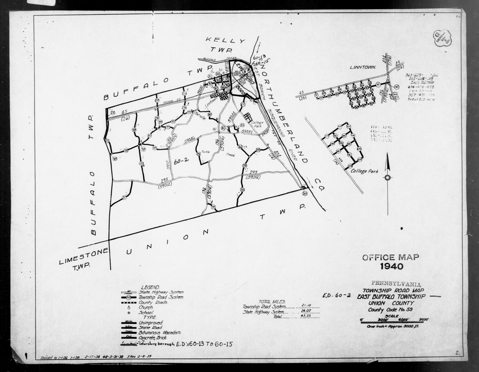 1940 Census Enumeration District Maps - Pennsylvania - Union County - East Buffalo - ED 60-2