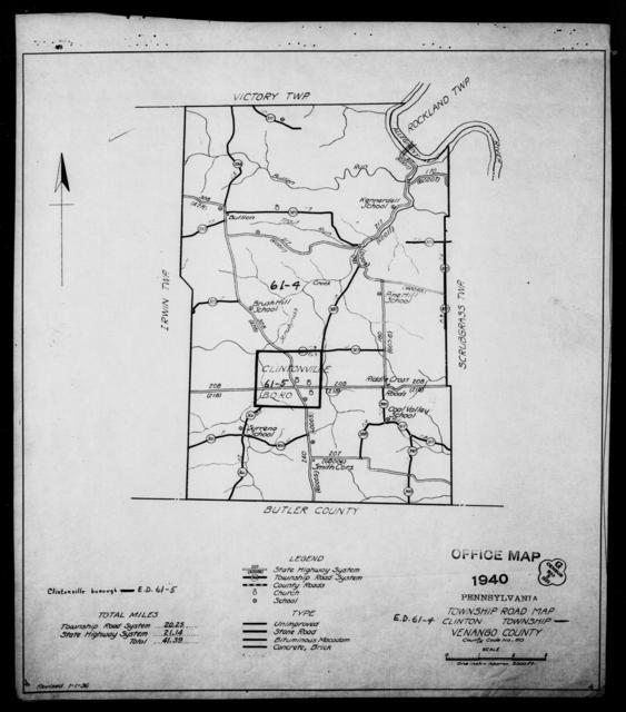 1940 Census Enumeration District Maps - Pennsylvania - Venango County - Clinton - ED 61-4