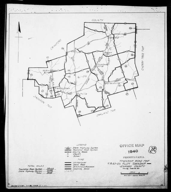 1940 Census Enumeration District Maps - Pennsylvania - Venango County - Plum - ED 61-50