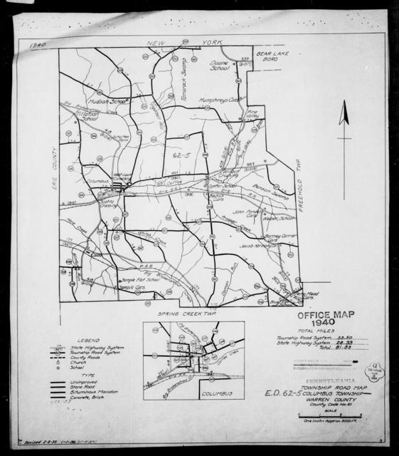 1940 Census Enumeration District Maps - Pennsylvania - Warren County - Columbus - ED 62-5