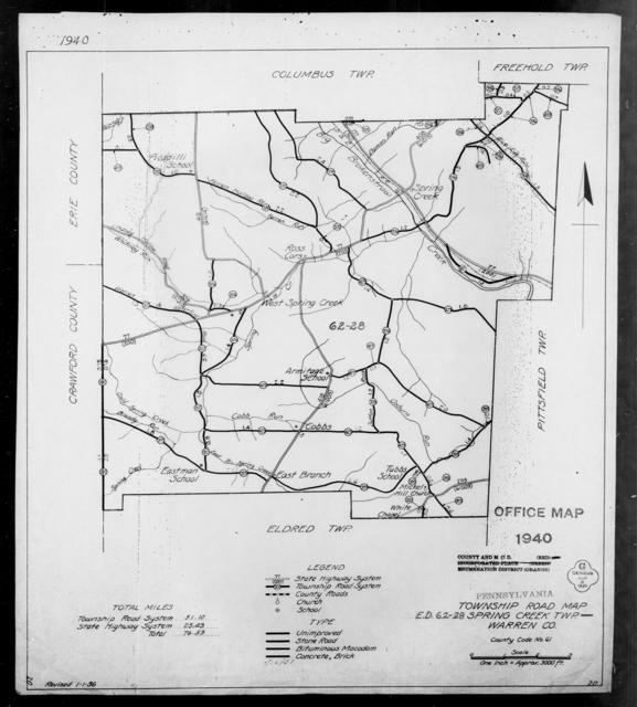 1940 Census Enumeration District Maps - Pennsylvania - Warren County - Spring Creek