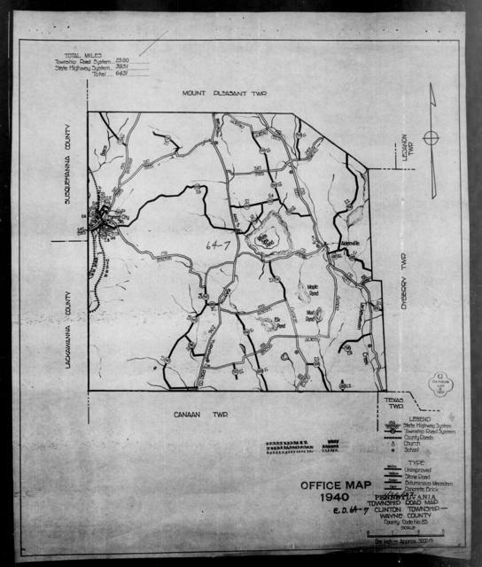1940 Census Enumeration District Maps - Pennsylvania - Wayne County - Clinton - ED 64-7A, ED 64-7B