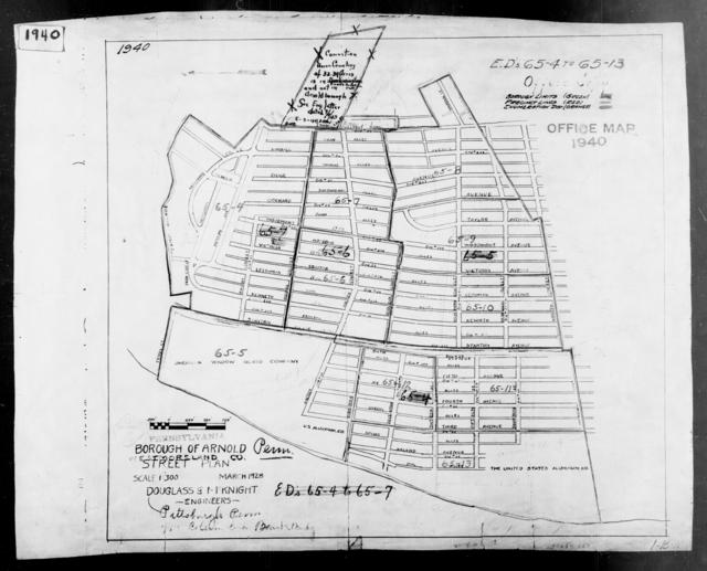 1940 Census Enumeration District Maps - Pennsylvania - Westmoreland County - Arnold - ED 65-4 - ED 65-13