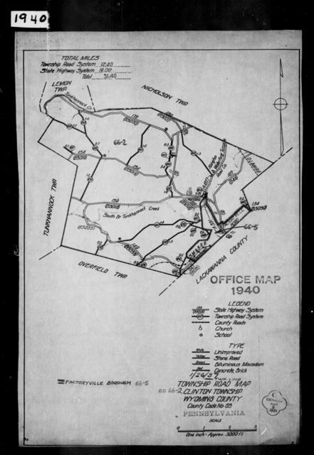 1940 Census Enumeration District Maps - Pennsylvania - Wyoming County - Clinton - ED 66-2