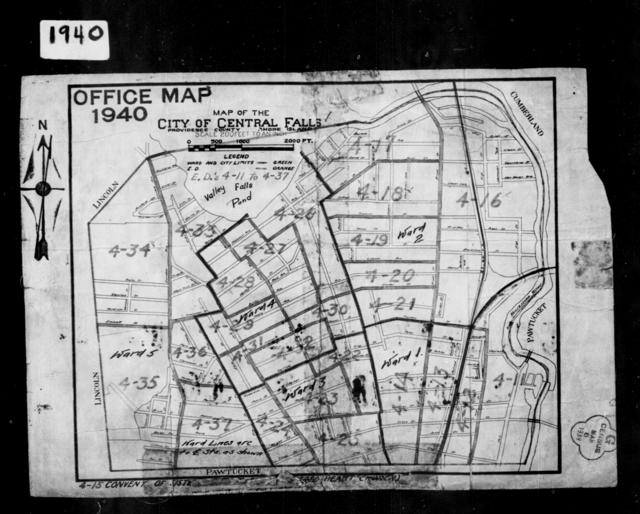 1940 Census Enumeration District Maps - Rhode Island - Providence County - Central Falls - ED 4-11 - ED 4-37