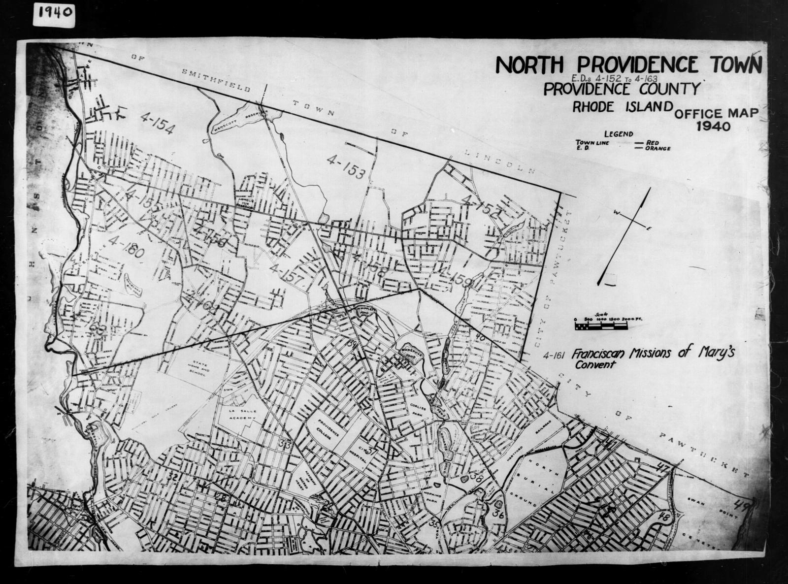 1940 Census Enumeration District Maps - Rhode Island - Providence County - North Providence - ED 4-152 - ED 4-163