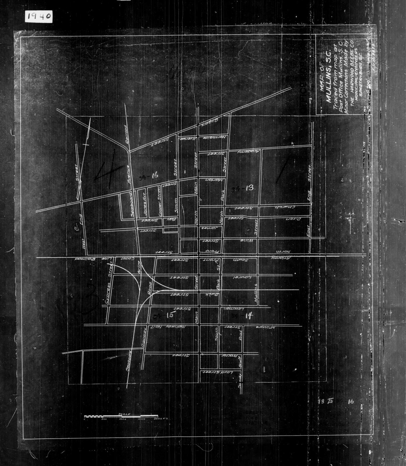 1940 Census Enumeration District Maps - South Carolina - Marion County - Mullins - ED 34-13, ED 34-14, ED 34-15, ED 34-16