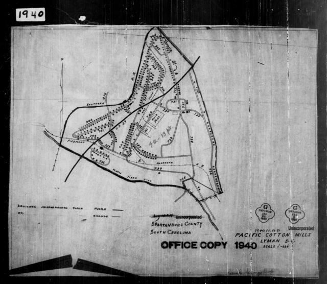 1940 Census Enumeration District Maps - South Carolina - Spartanburg County - Pacific Cotton Mills - ED 42-13B
