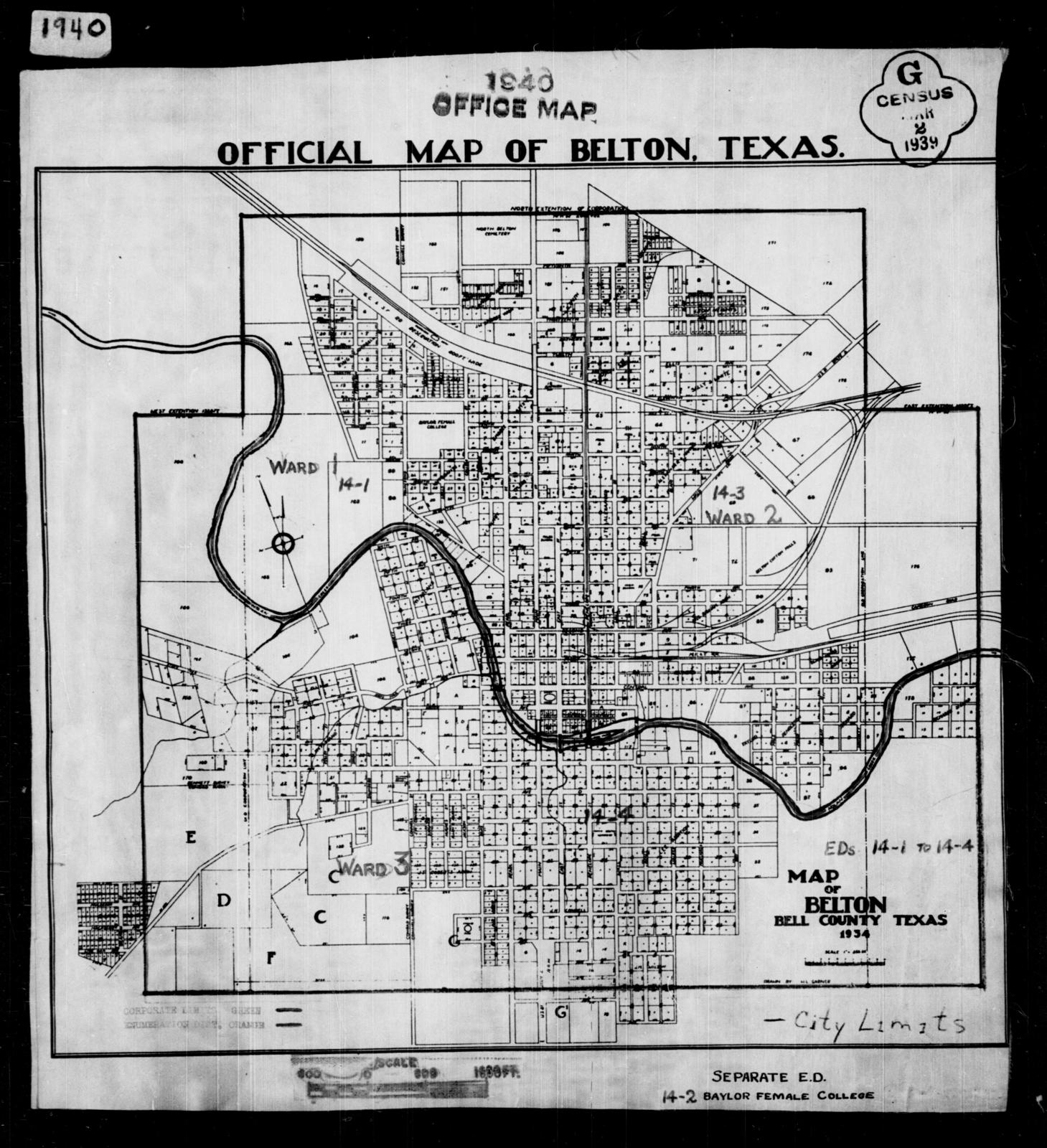 1940 Census Enumeration District Maps - Texas - Bell County - Belton