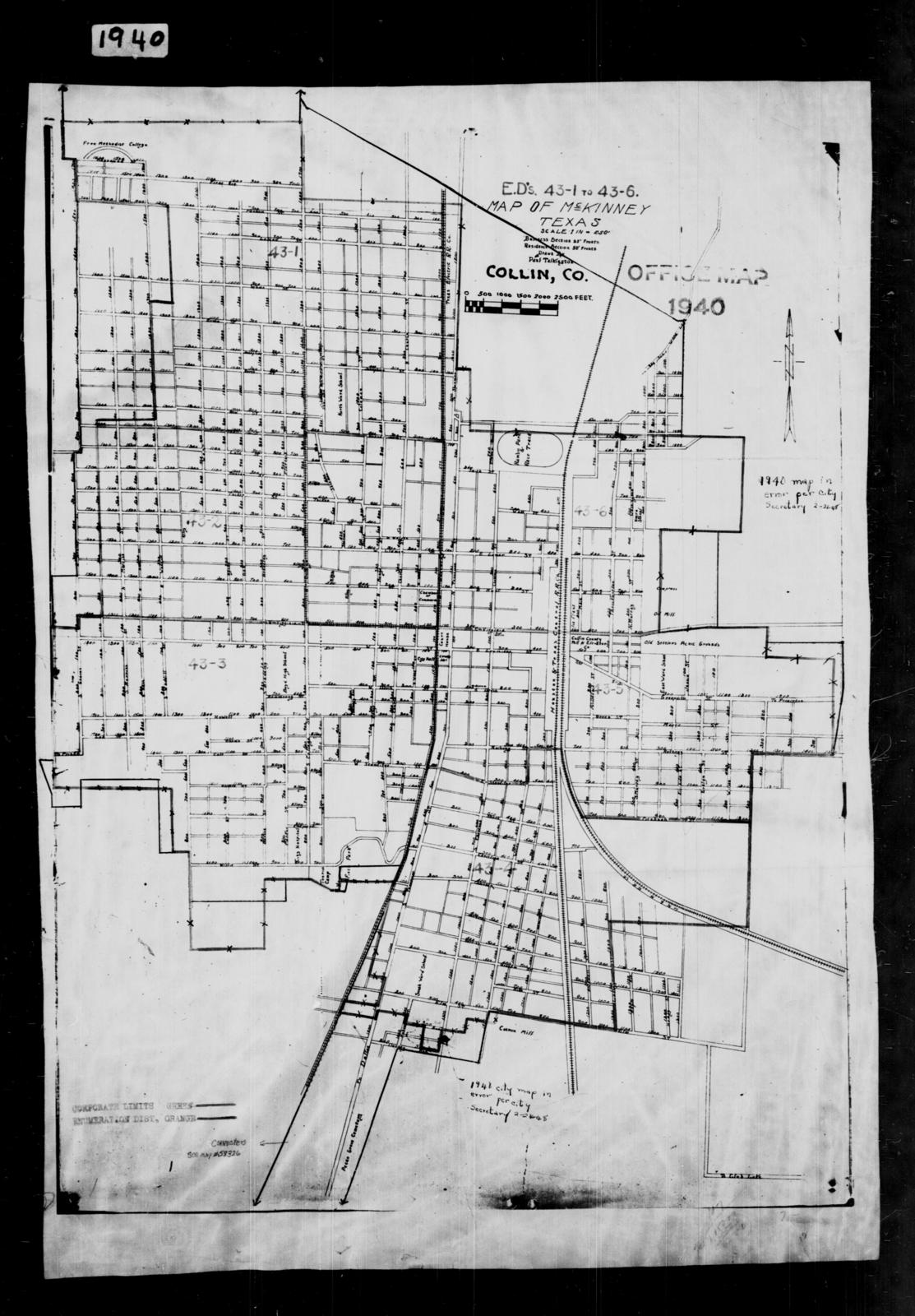 Map Of Texas District 6.1940 Census Enumeration District Maps Texas Collin County