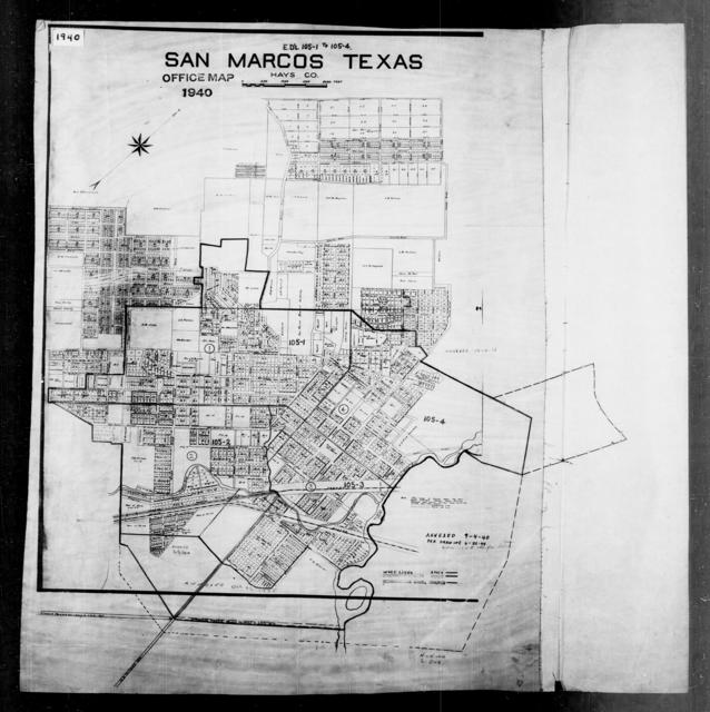 1940 Census Enumeration District Maps - Texas - Hays County - San Marcos - ED 105-1, ED 105-2, ED 105-3, ED 105-4A, ED 105-4B