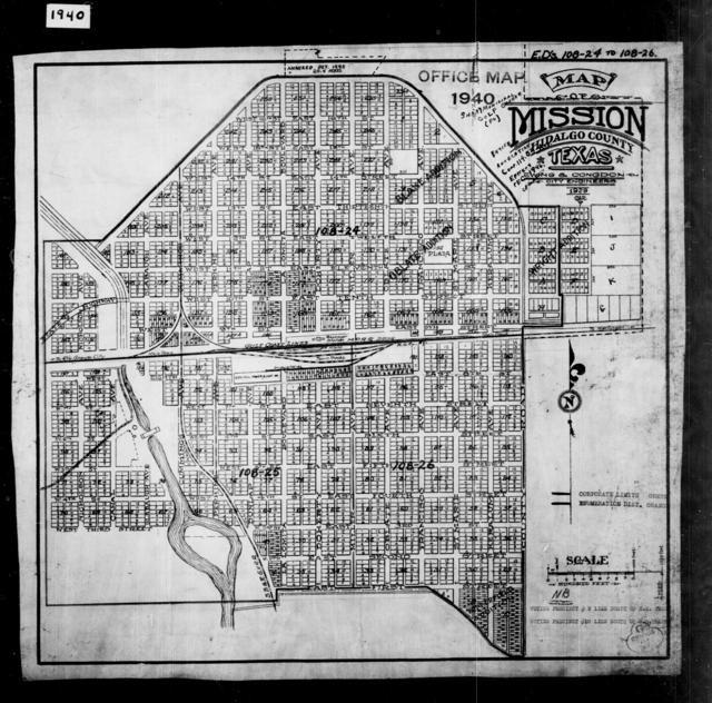 1940 Census Enumeration District Maps - Texas - Hidalgo County - Mission - ED 108-24, ED 108-25, ED 108-26