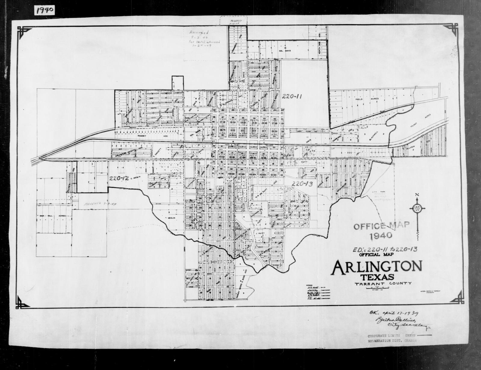 Map Of Texas Arlington.1940 Census Enumeration District Maps Texas Tarrant County
