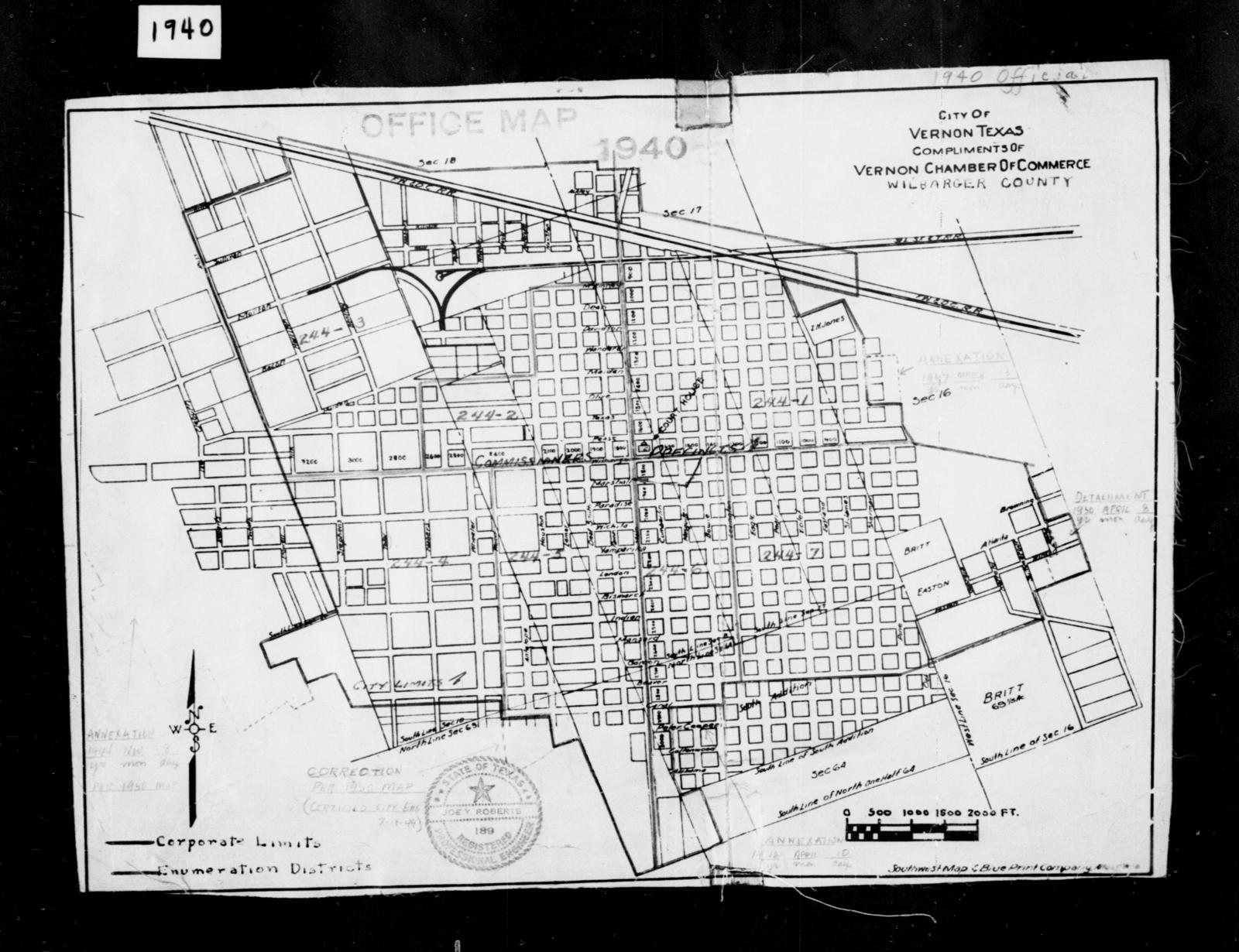 Map Of Texas District 6.1940 Census Enumeration District Maps Texas Wilbarger County