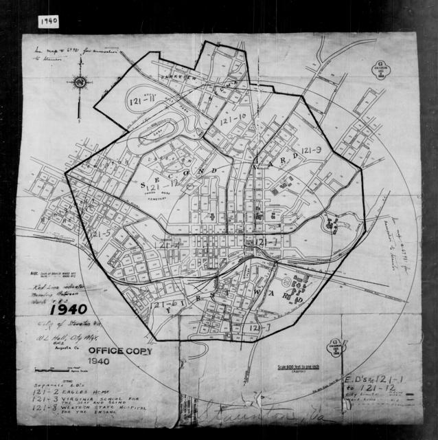 1940 Census Enumeration District Maps - Virginia - Augusta County - Staunton
