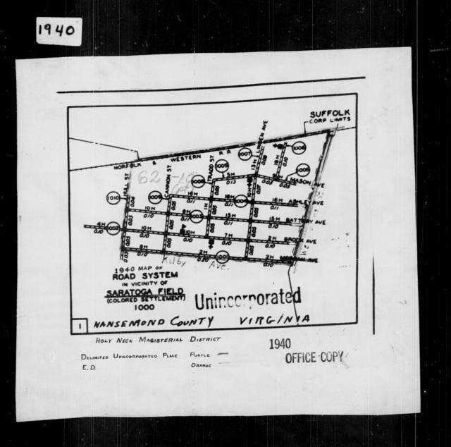 1940 Census Enumeration District Maps - Virginia - Nansemond County - Saratoga Field - ED 62-10