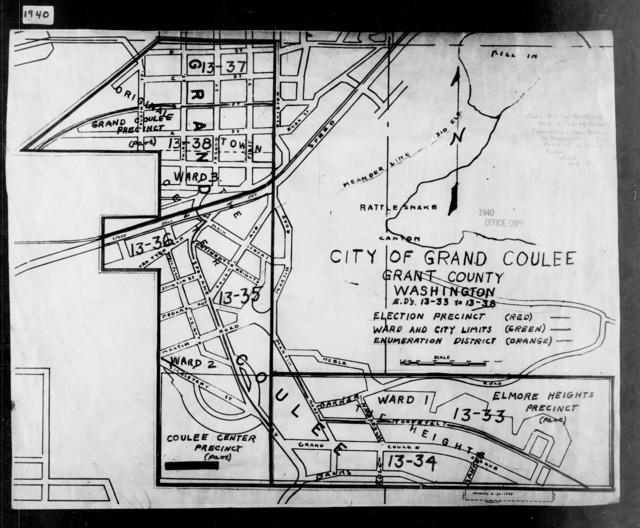 1940 Census Enumeration District Maps - Washington - Grant County - Grand Coulee - ED 13-33, ED 13-34, ED 13-35, ED 13-36, ED 13-37, ED 13-38