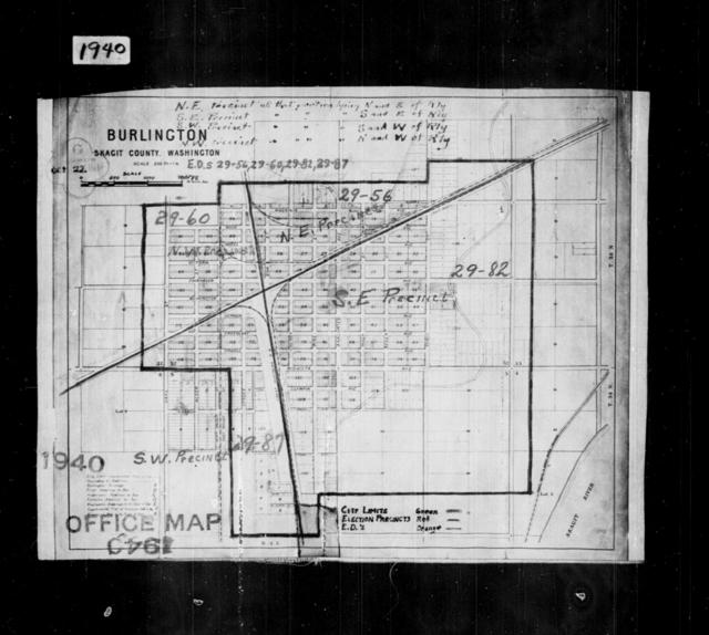 1940 Census Enumeration District Maps - Washington - Skagit County - Burlington - ED 29-56, ED 29-60, ED 29-82, ED 29-87