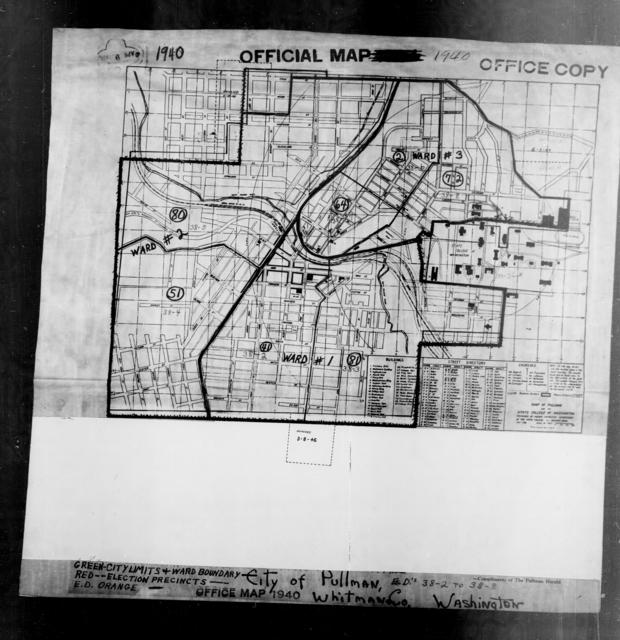 1940 Census Enumeration District Maps - Washington - Whitman County - Pullman - ED 38-2, ED 38-3, ED 38-4, ED 38-5, ED 38-6, ED 38-7, ED 38-8