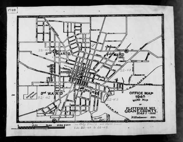 1940 Census Enumeration District Maps - Wisconsin - Grant County - Platteville - ED 22-40, ED 22-41, ED 22-42, ED 22-43, ED 22-44, ED 22-45