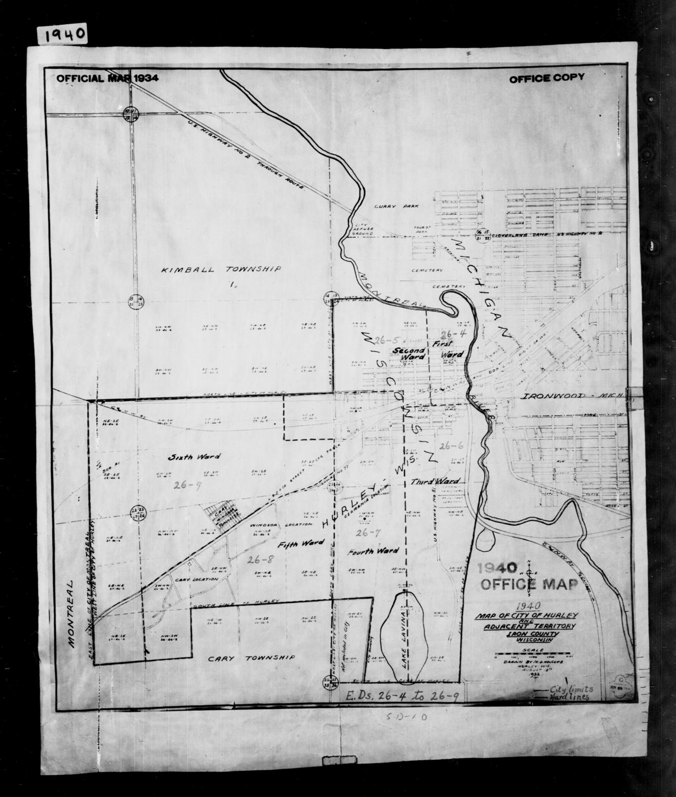 1940 Census Enumeration District Maps - Wisconsin - Iron County