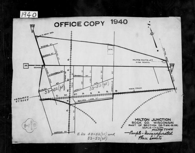 1940 Census Enumeration District Maps - Wisconsin - Rock County - Milton Junction - ED 53-52, ED 53-53