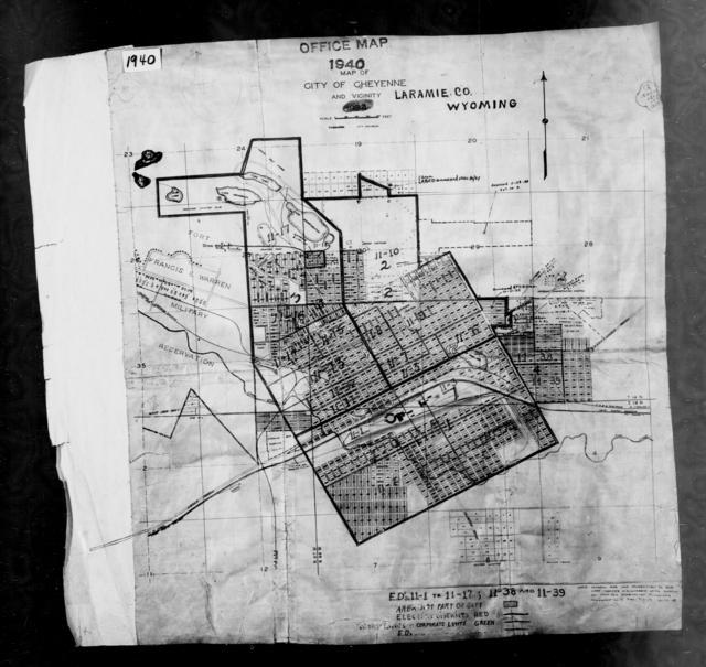 1940 Census Enumeration District Maps - Wyoming - Laramie County - Cheyenne - ED 11-1A - ED 11-39
