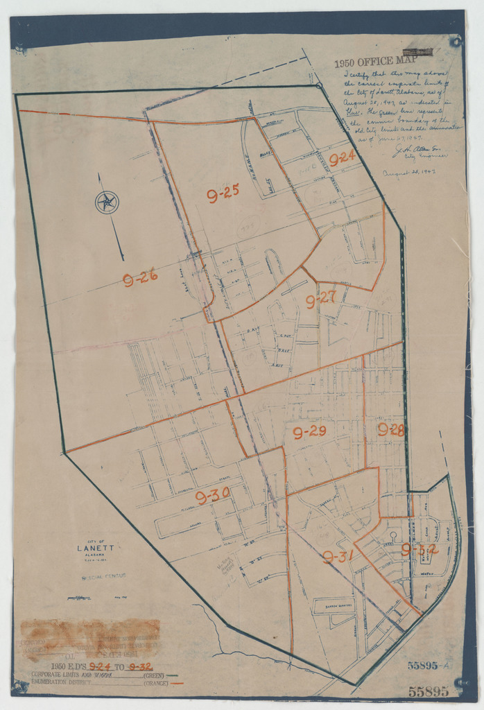 1950 Census Enumeration District Maps - Alabama - Chambers County - Lanett City - ED AL 9-24 to 32