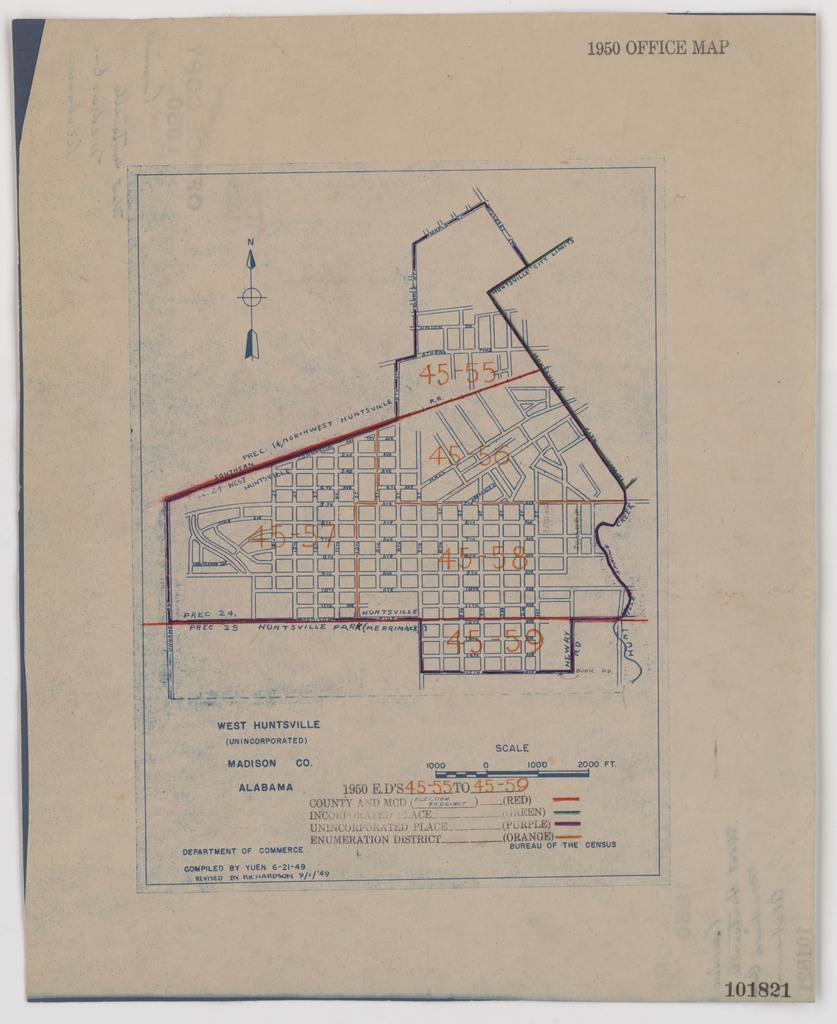 1950 Census Enumeration District Maps - Alabama - Madison ...