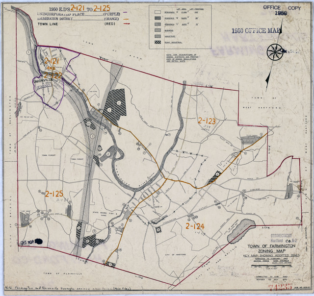 1950 Census Enumeration District Maps - Connecticut (CT) - Hartford County - Farmington - ED 2-121 to 125