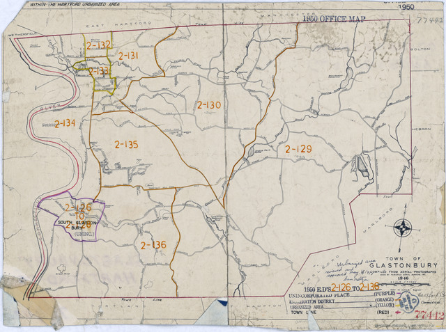1950 Census Enumeration District Maps - Connecticut (CT) - Hartford County - Glastonbury - ED 2-126 to 136