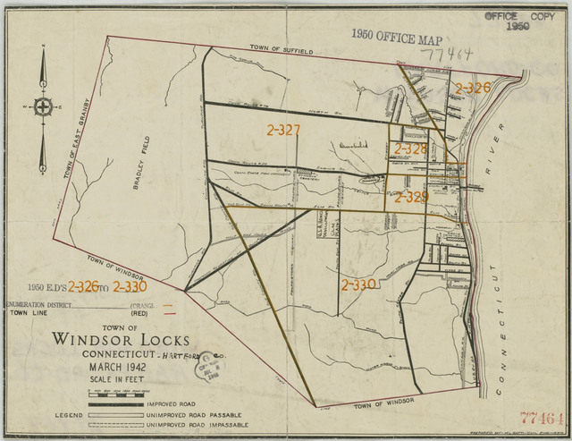 1950 Census Enumeration District Maps - Connecticut (CT) - Hartford County - Windsor Locks - ED 2-326 to 330