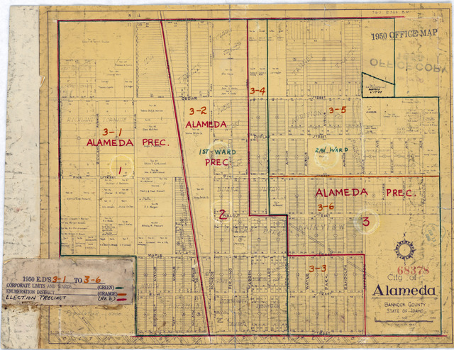 1950 Census Enumeration District Maps - Idaho (ID) - Bannock County - Alameda - ED 3-1 to 6