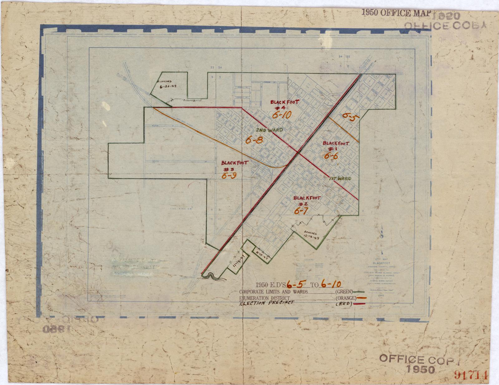 1950 Census Enumeration District Maps Idaho Id Bingham County